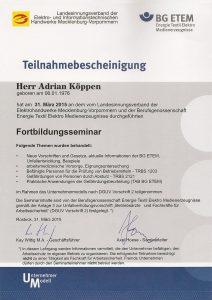BGE Zertifikat Köppen Junior Elektro
