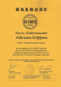 E-Check Zertifikat Köppen Junior Elektro