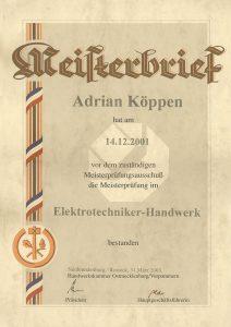 Meisterbrief Adrian Köppen