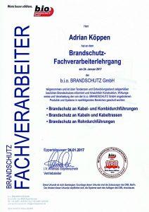 Brandschutz Zertifikat Köppen Junior Elektro